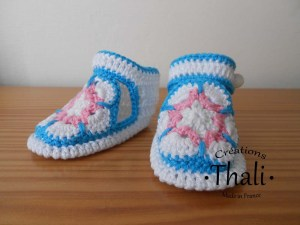 Les chaussons en granny African Flower