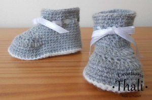Les chaussons bottine au crochet