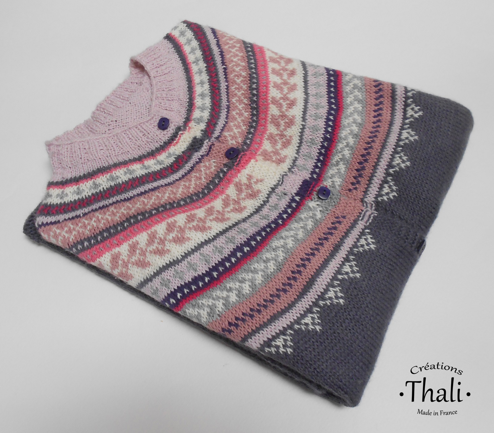 Modele tricot gilet femme top down