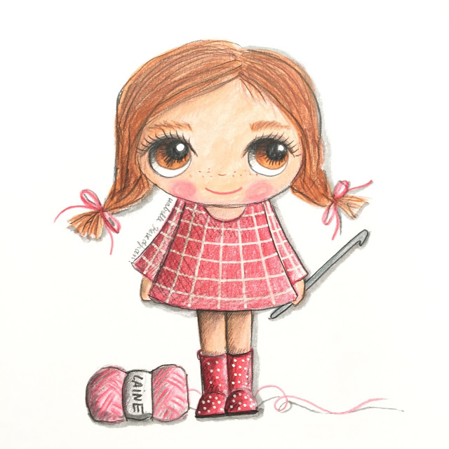 illustration girl crochet